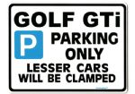 Golf GTi  LARGE Metal Sign for vw volkswagen mk 1 2 3